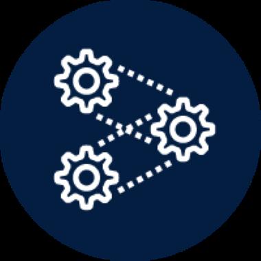 Program development icon with three gears