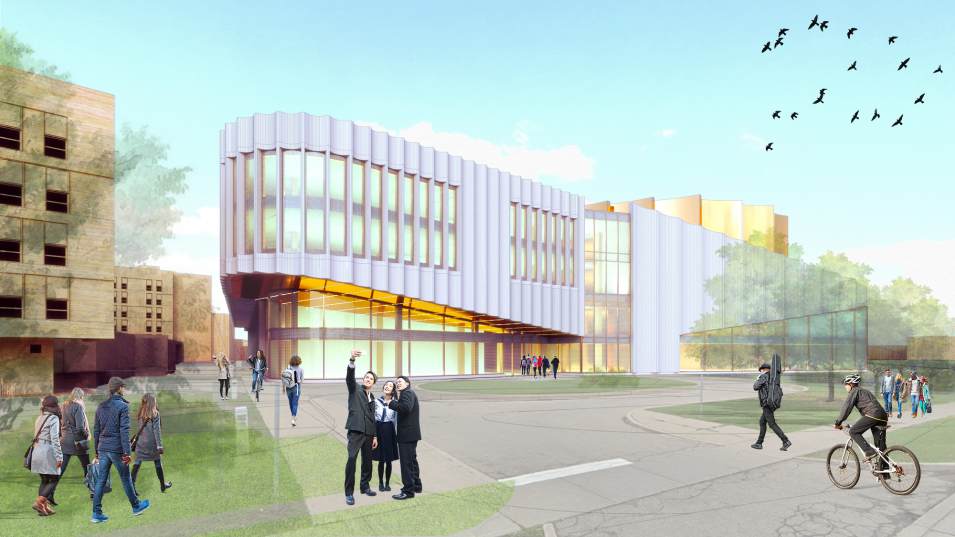 Exterior rendering of the Humber Cultural Hub at Lakeshore Campus