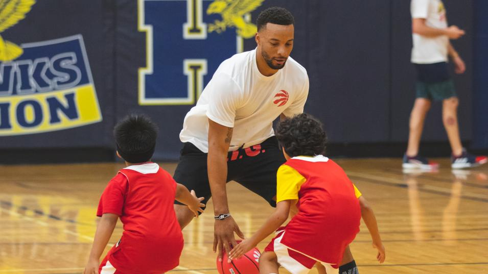 Player Norman Powell visits the Raptors Basketball Academy at Humber's North Campus on Friday, July 26.